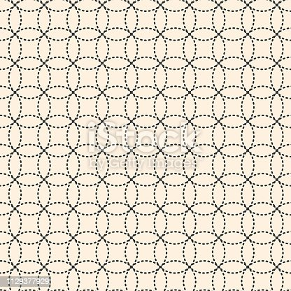 seamless geometric background, circles of dotted black lines are overlapped on a light beige background