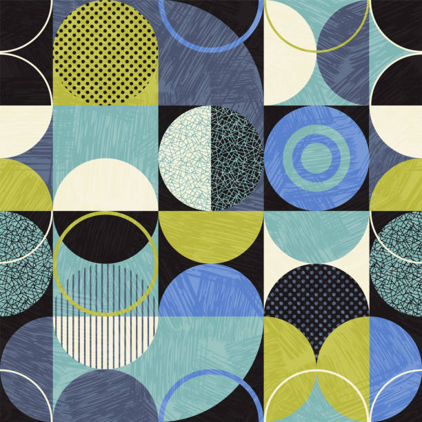 Seamless abstract geometric modern pattern. Retro bauhaus design of circles, squares and textures. vector art illustration