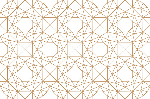Seamless abstract geometric pattern. Golden lines on white background.