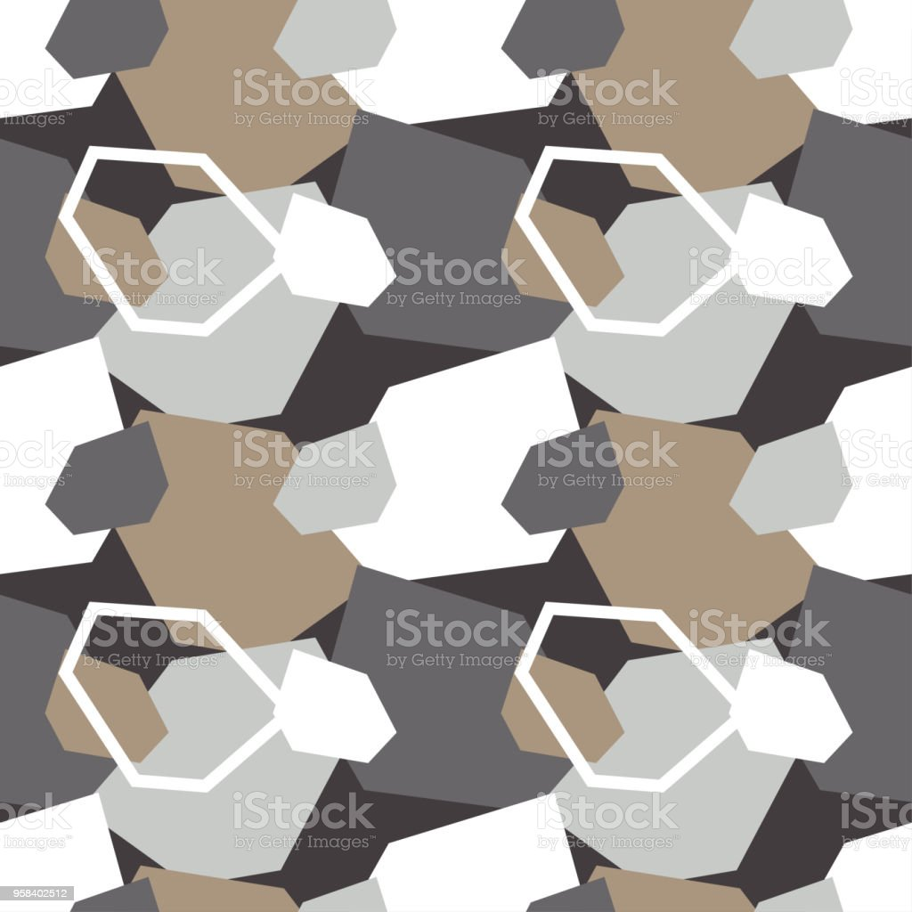 Seamless abstract geometric pattern. Texture of stones and pebbles. Scribble texture. Textile rapport. vector art illustration