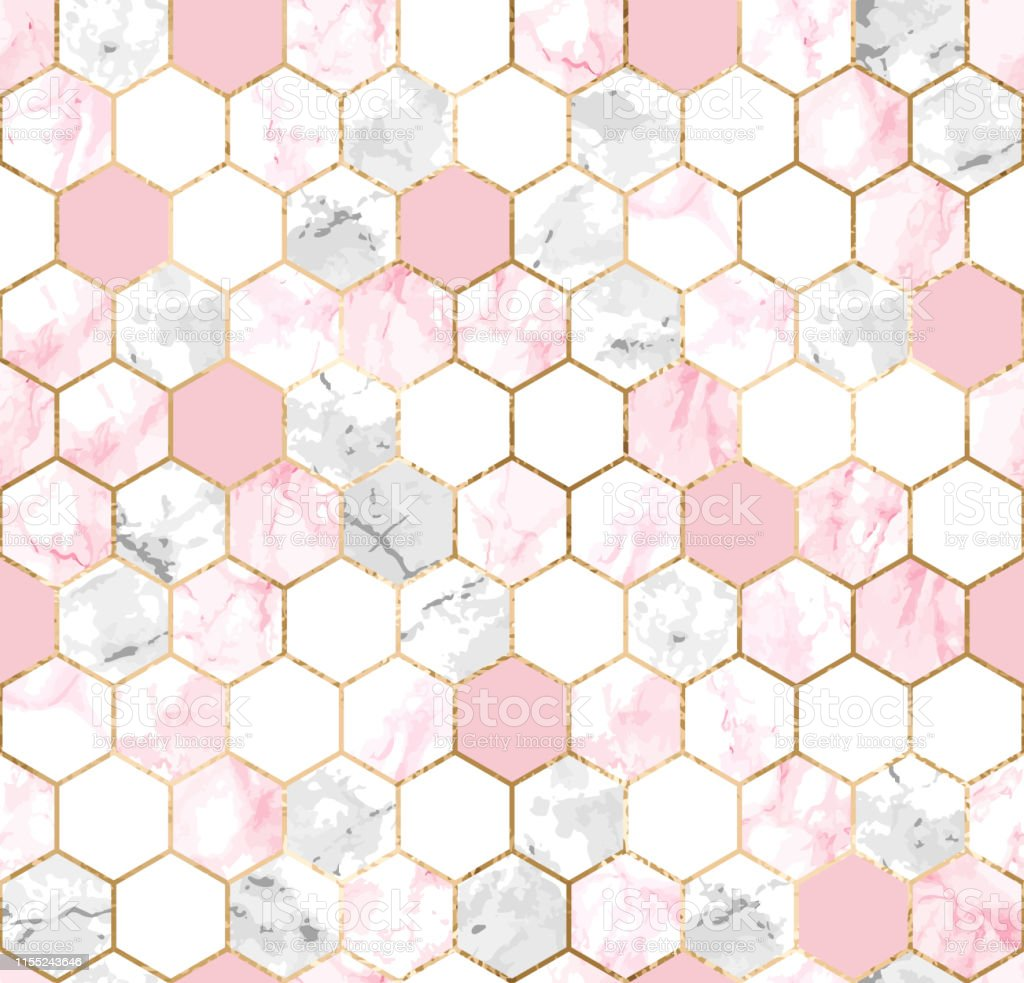 Seamless Abstract Geometric Pattern With Gold Lines Pink And