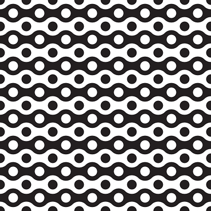 Seamless abstract geometric wave and dot pattern