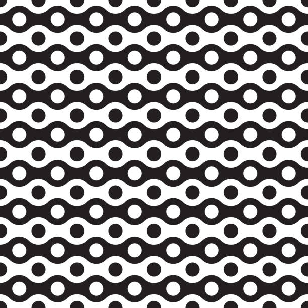 Seamless abstract geometric wave and dot pattern Seamless abstract geometric wave and dot pattern bicycle chain stock illustrations