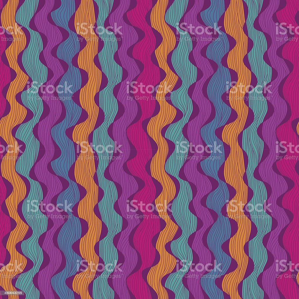Seamless abstract hand-drawn waves pattern royalty-free stock vector art