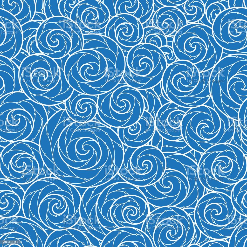 Sem costura abstratos desenhados à mão padrão, ondas ondulado fundo. - Vetor de Abstrato royalty-free