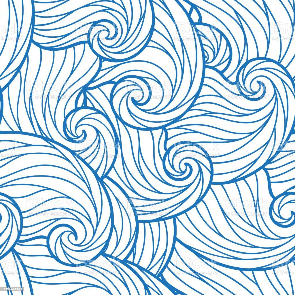 Sorunsuz soyut çizilmiş dalgalar desen, dalgalı arka plan. - Royalty-free Akmak Vector Art