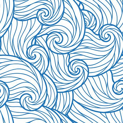 Sorunsuz Soyut Çizilmiş Dalgalar Desen Dalgalı Arka Plan Stok Vektör Sanatı & Akmak'nin Daha Fazla Görseli