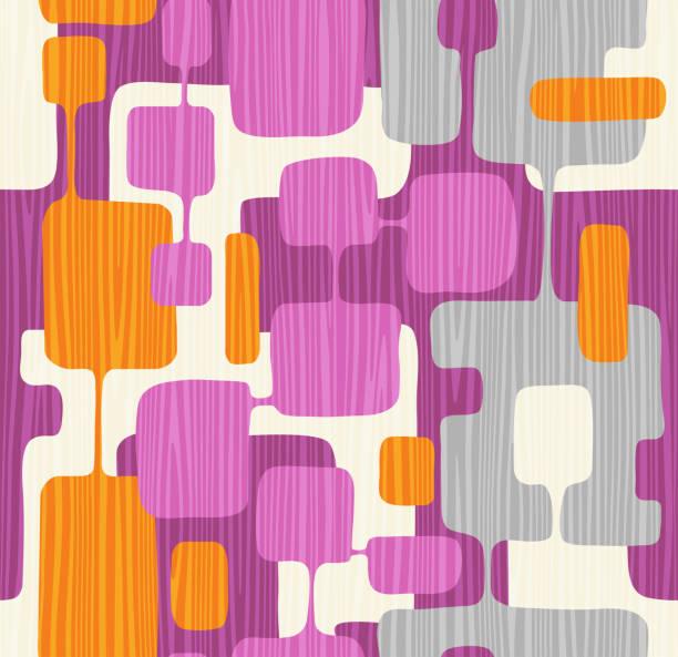 Seamless abstract mid century modern pattern vector art illustration
