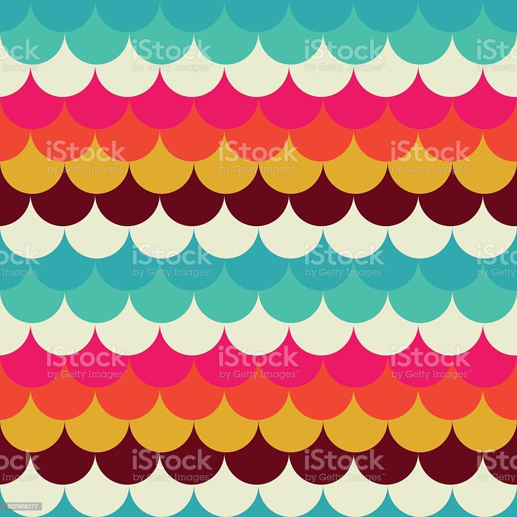 Seamless abstract pattern retro circles vector art illustration
