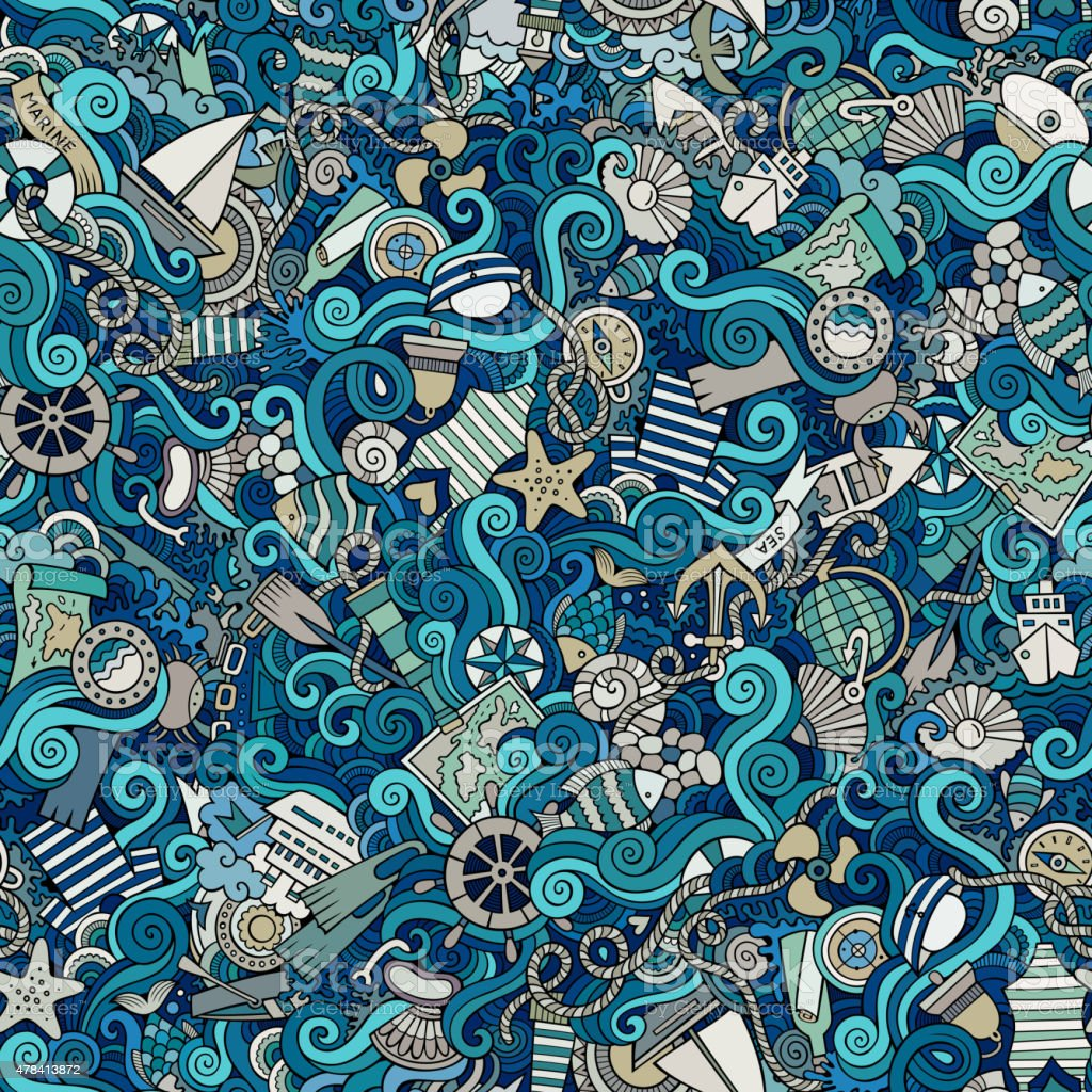Seamless abstract pattern sealife and marine vector art illustration