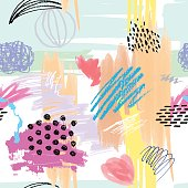 Seamless colorful artistic abstract pattern. Hand drawn repeatable creative background. Doodle sketch design from painted texture.