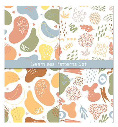 Seamless abstract pattern with geometric shapes background set, trendy decorative design