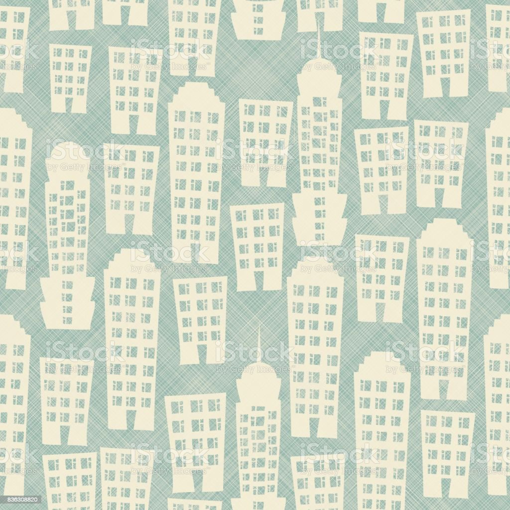 seamless abstract pattern with street cityscape on texture background vector art illustration