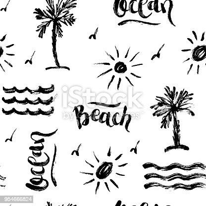 istock Seamless abstract summer brush pattern 954666824
