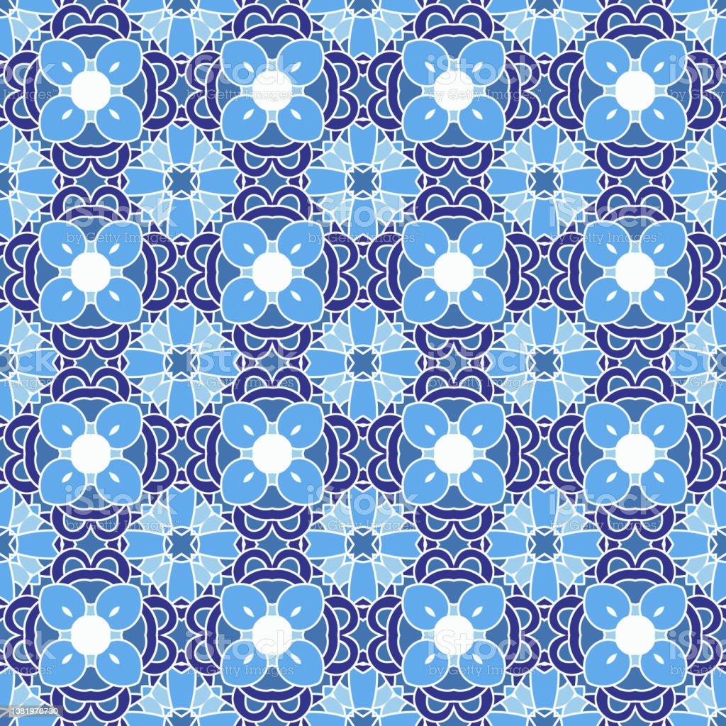 Resume Sans Soudure Carrelage Mosaique En Vecteur Bleu Et