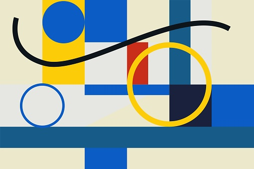 Seamless Abstract vector Geometric Pattern design in Kandinsky and mondrian style. Color Bright and modern. For Background, print, artwork and wallpaper.
