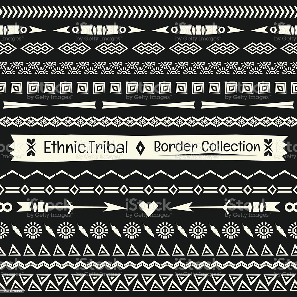 Seamless abstract vector Tribal border collection in monochrome vector art illustration