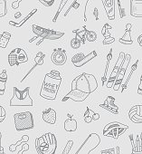 Seamless pattern active lifestyle doodles. Vector illustration.