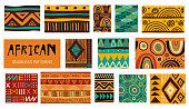 Seamless African modern art tribal patterns. Vector collection