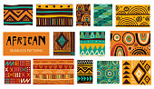 Seamless African modern art tribal patterns. Vector collection