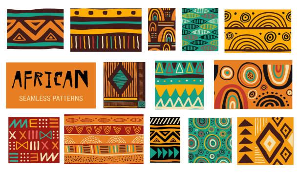 Seamless African modern art patterns. Vector collection Seamless African modern art tribal patterns. Vector collection animal markings stock illustrations