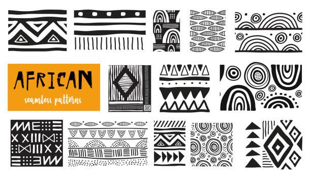 無縫的非洲現代藝術模式。向量集合 - africa 幅插畫檔、美工圖案、卡通及圖標