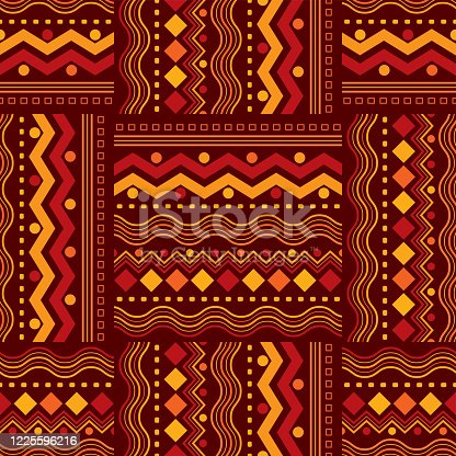 istock Seamless African Zigzag and Line Design Pattern 1225596216