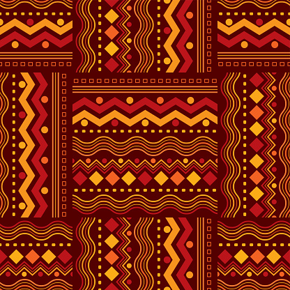Seamless African Zigzag and Line Design Pattern