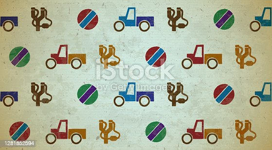 istock Seamless aged pattern with toys 1281852594