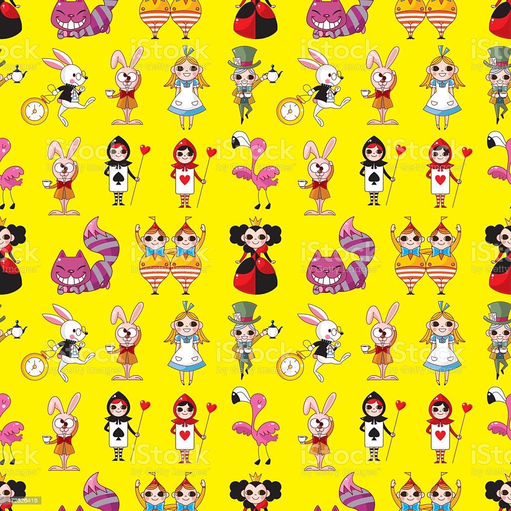 seamless pattern di Alice nel Paese delle meraviglie - illustrazione arte vettoriale