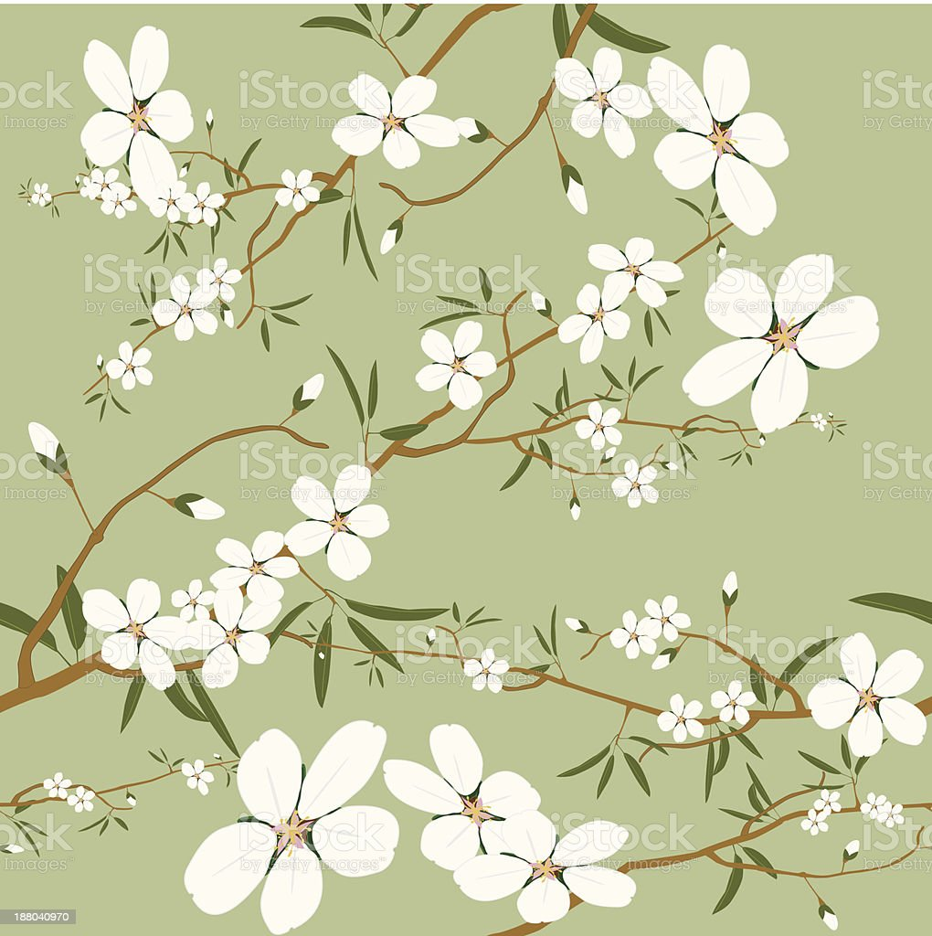 seamless almond tree wallpaper vector art illustration