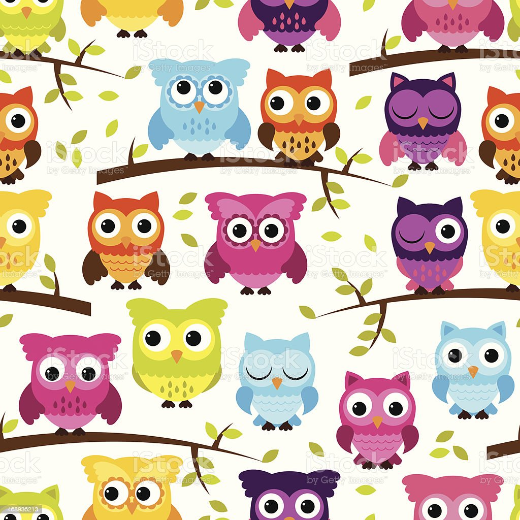 Seamless and Tileable Vector Owl Background Pattern vector art illustration
