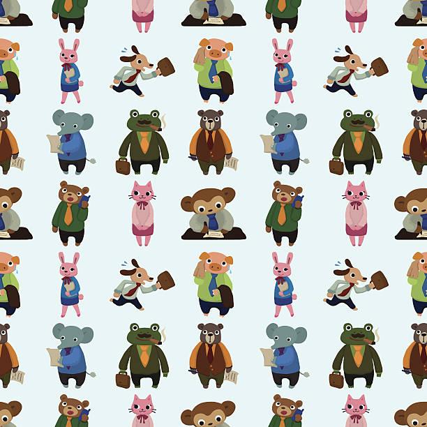 nahtlose tier muster geschäft arbeiter - arbeitshunde stock-grafiken, -clipart, -cartoons und -symbole