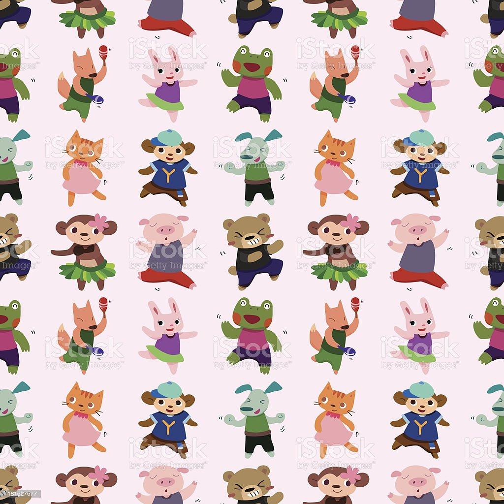 seamless animal dance pattern royalty-free stock vector art