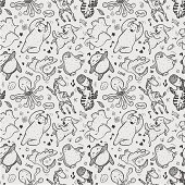vector illustration - seamless animal dancing pattern