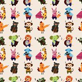 vector illustration - seamless animal music pattern