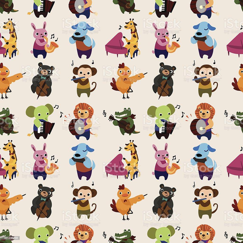 seamless animal music pattern vector art illustration