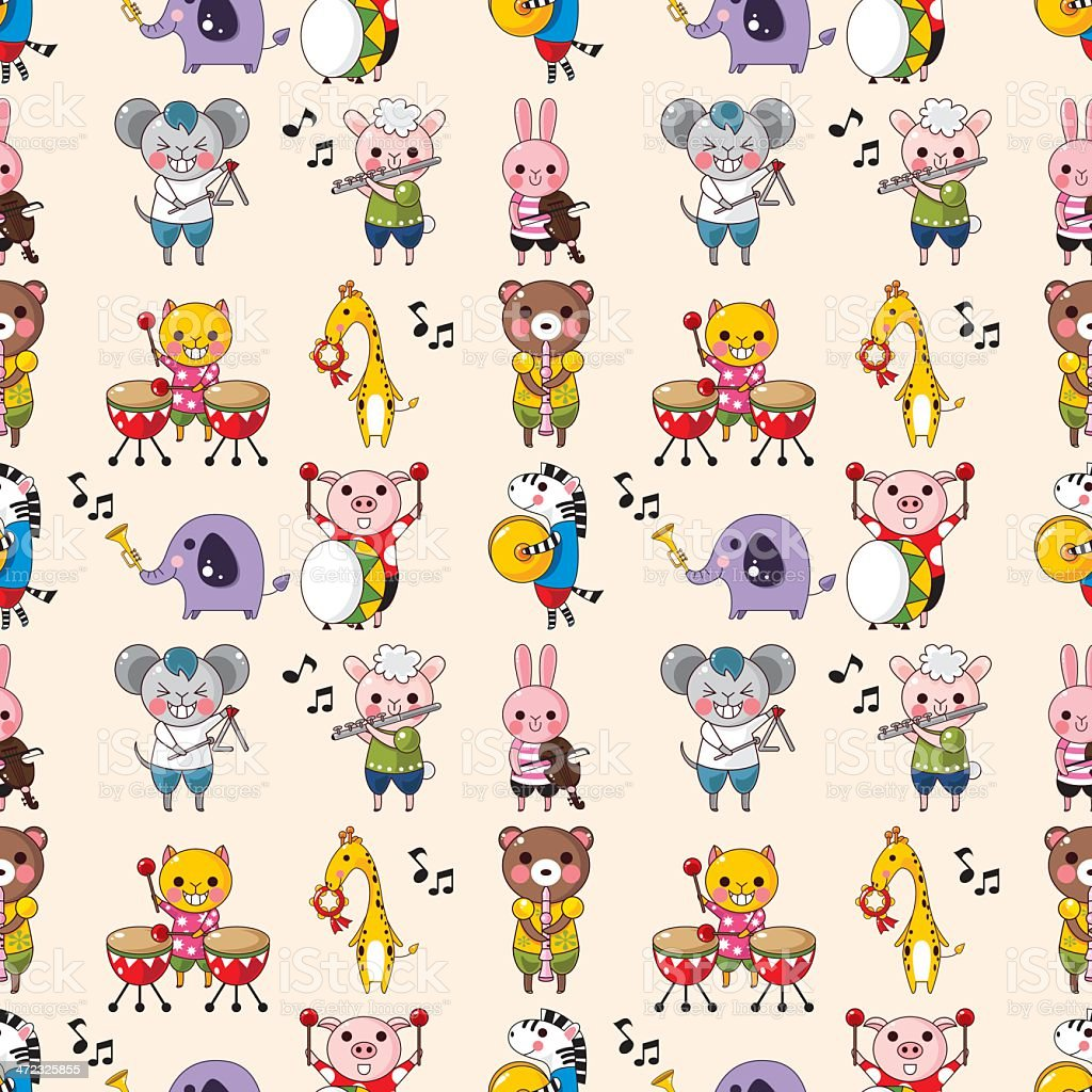 seamless animal music pattern royalty-free stock vector art