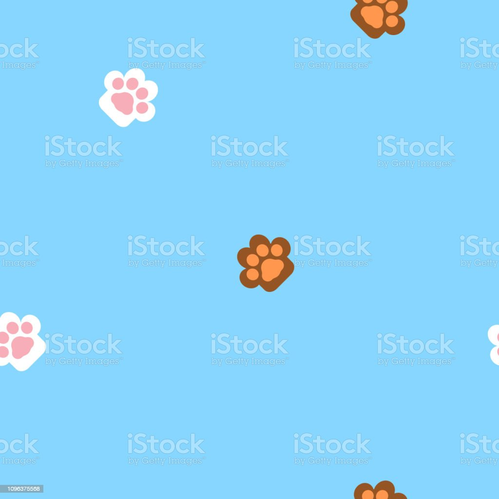 seamless animal pet cat and dog foot print paw repeat pattern in blue...