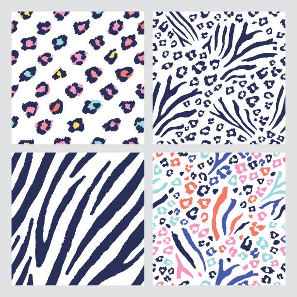 ilustrações de stock, clip art, desenhos animados e ícones de seamless animal skin patterns - padrões zebra