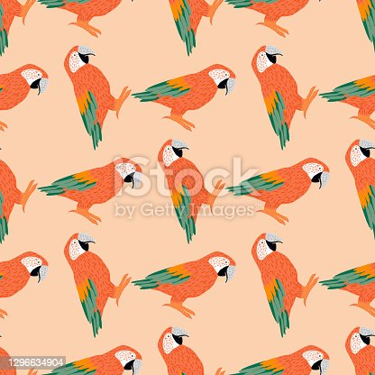 Seamless animal tropic pattern with orange and green colored ara parrot elements. Pastel background. Stock illustration. Vector design for textile, fabric, giftwrap, wallpapers.
