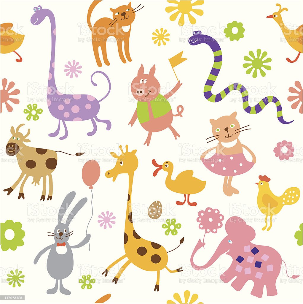 Seamless animals elements royalty-free seamless animals elements stock vector art & more images of animal