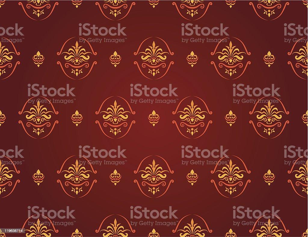 seamless antique red and gold pattern royalty-free stock vector art