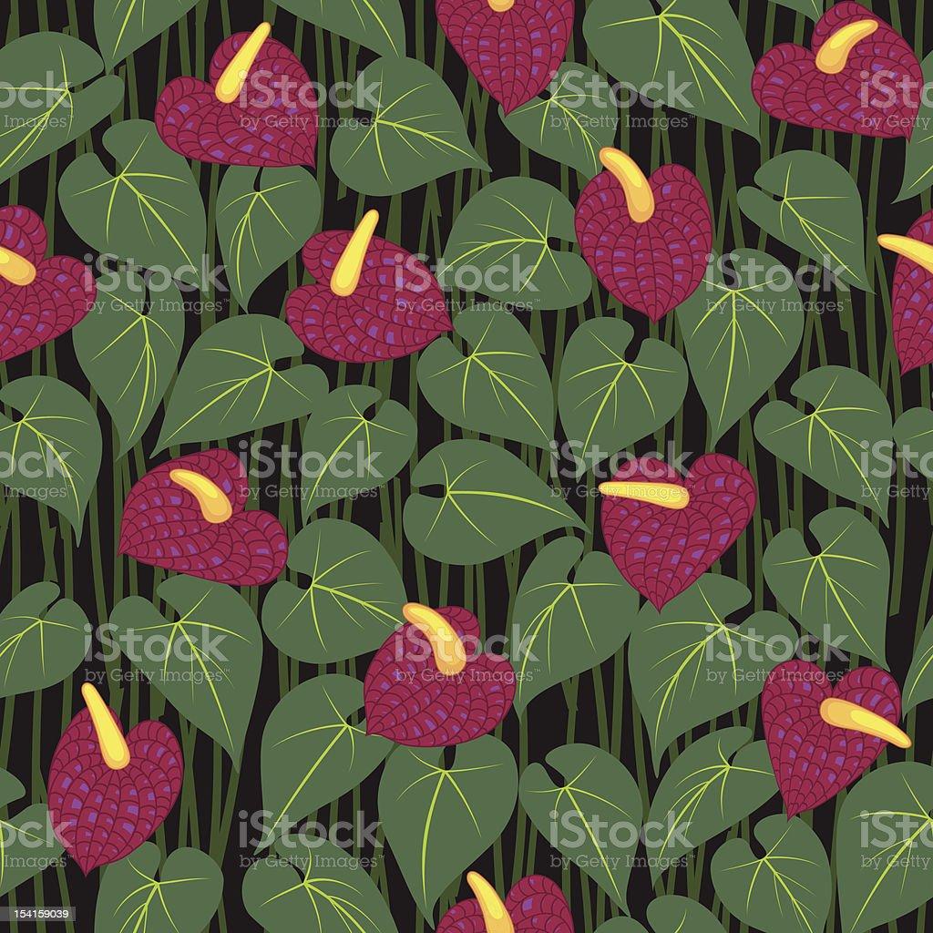 seamless anturium flower pattern background royalty-free stock vector art