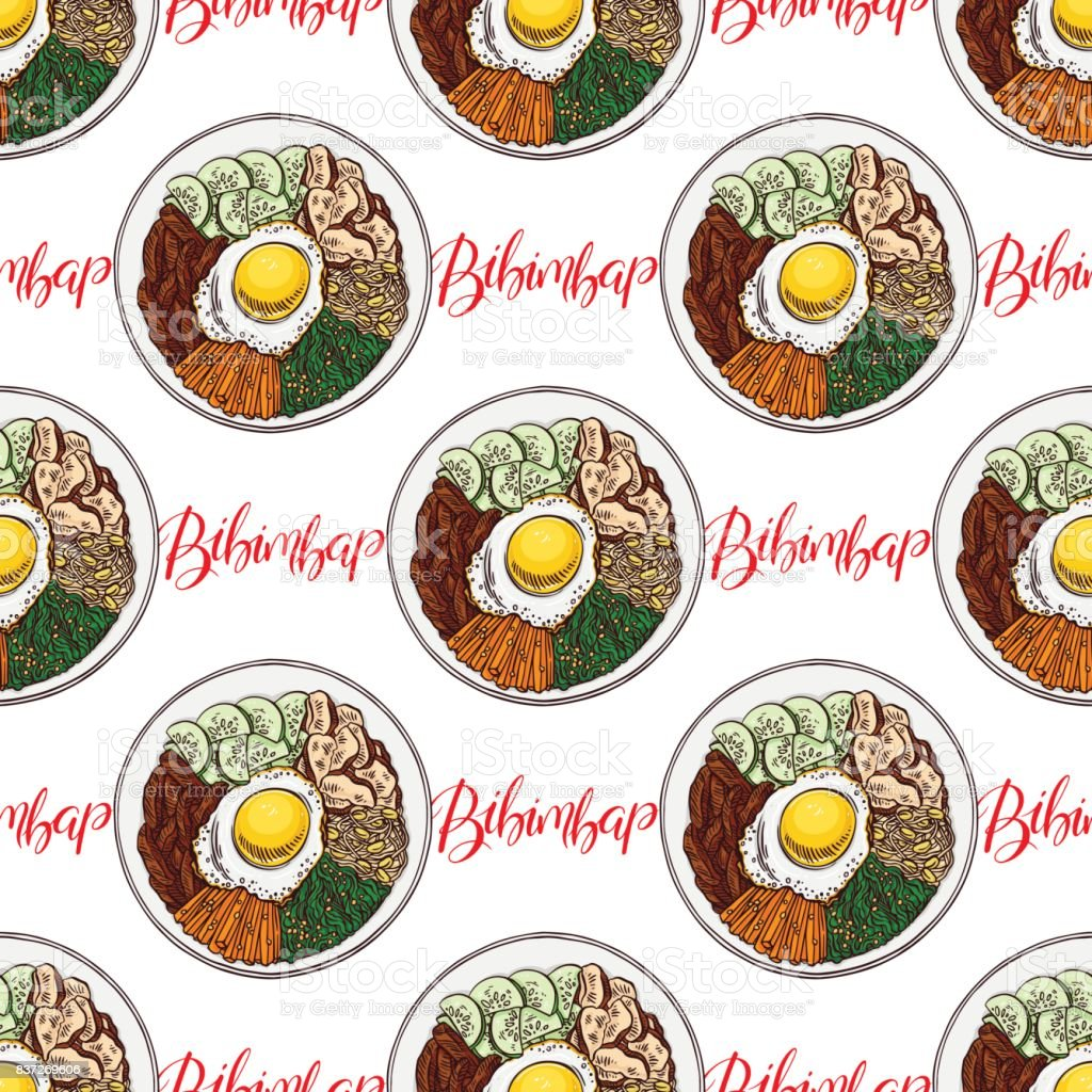 seamless appetizing bibimbap vector art illustration