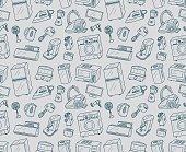 Seamless appliances doodles. Vector illustration.