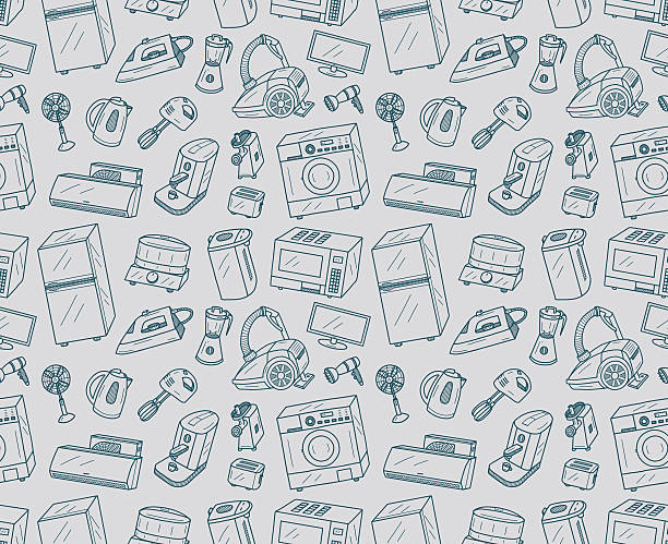 Seamless Appliances Doodles vector art illustration