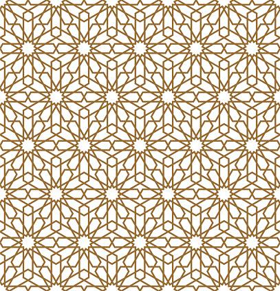 Seamless arabic geometric ornament in brown color.Vector illustration.