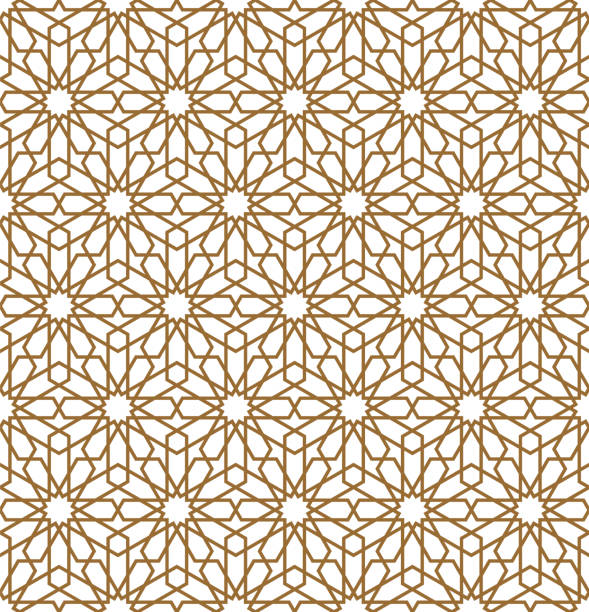 Seamless arabic geometric ornament in brown color.Vector illustration. Seamless geometric ornament based on traditional arabic art.Brown color lines.Great design for textile,cover,wrapping paper and lasercutting.Thick lines.Vector illustration. morocco stock illustrations