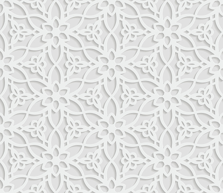 Seamless arabic geometric  pattern, 3D white background, indian ornament, persian motif, vector texture. Endless texture are suitable for web page  background, as background desktop PC, etc.